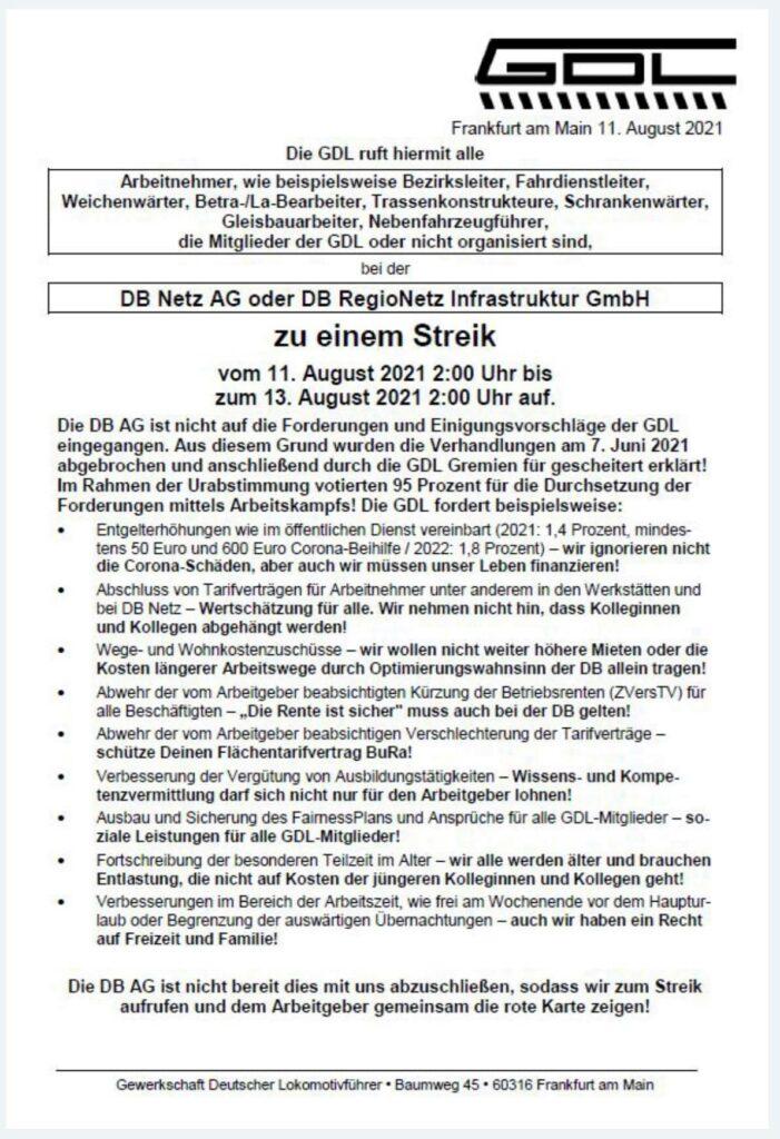 GDL-Brief an Beschäftigte von DB Netz AG oder DB RegioNetz