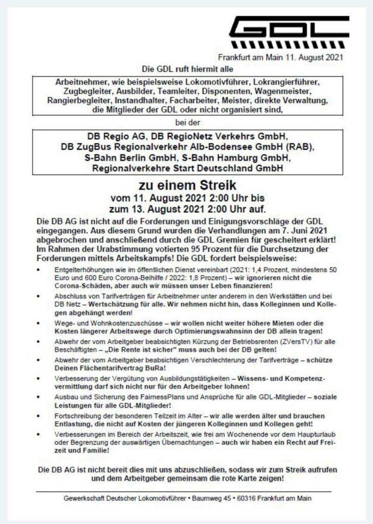 GDL-Brief an Beschäftigte von DB Regio, DB RegioNetz, DB ZugBus, S-Bahn Hamburg & Berlin, Regionalverkehre Start Deutschland